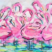 GreenBox Art Flamingos In A Flock Canvas Wall Art 14 x 14