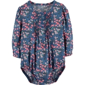 OshKosh B'gosh Infant Girls Woven Floral Twill Bodysuit