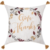 Sheffield Home Give Thanks Embroidered Pillow