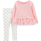 Carter's Infant Girls 2 pc. Bow Peplum Top and Striped Legging Set