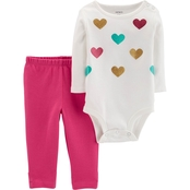 Carter's Infant Girls 2 pc. Sparkle Heart Bodysuit Pants Set