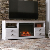 Ashley Willowtown TV Stand with Fireplace Insert