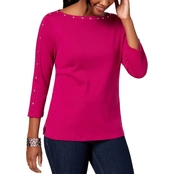 Karen Scott Petite Cotton Stud Trim Boat Neck Top
