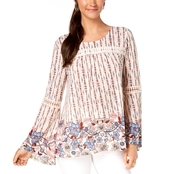 Style & Co. Petite Mixed Print Peasant Top