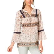 Style & Co. Petite Printed Peasant Top