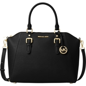 Michael Kors Ciara Large Top Zip Leather Satchel Goldtone Hardware