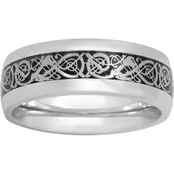Stainless Steel Band With Filigree Design Inlay