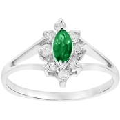 14K White Gold Diamond and 6x3mm Marquis Shaped Emerald Ring