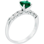 14K White Gold Diamond and 6mm Round Emerald Engagement Ring