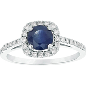14K White Gold Diamond and 6mm Sapphire Engagement Ring