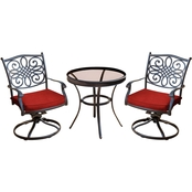 Hanover Traditions 3 pc. Swivel Bistro Set with Glass Top Table