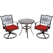 Hanover Traditions 3 pc. Swivel Bistro Set with Cast Top Table