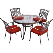 Hanover Traditions 5 pc. Dining Set with Glass Top Table