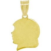 14K Yellow Gold Girl Head Silhouette Charm