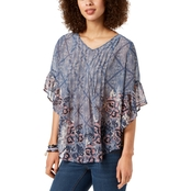 Style & Co. Petite Printed Pleated Top