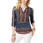 Style & Co. Petite Mixed Print Top