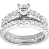 10K White Gold 1 5/8 CTW Diamond Bridal Set, Size 7