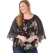 Status by Chenault Plus Size Twin Print Poncho Top