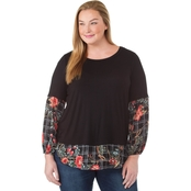 Status by Chenault Plus Size Bubble Sleeve 2fer Top