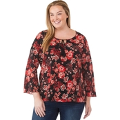 Status by Chenault Plus Size Floral Peasant Top