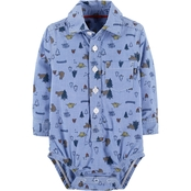 OshKosh B'gosh Infant Boys Woven Camping Print Bodysuit