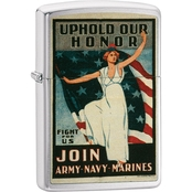 Zippo Army, Navy, Marines, Vintage Poster Lighter