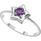 Karat Kids 14K Gold Imitation Amethyst Youth Star Ring, Size 3
