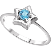 Karat Kids 14K Gold Imitation Aquamarine Youth Star Ring, Size 3