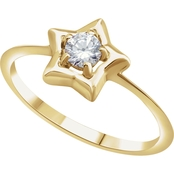 Karat Kids 14K Gold Imitation Diamond Youth Star Ring, Size 3