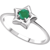Karat Kids 14K Gold Imitation Emerald Youth Star Ring, Size 3