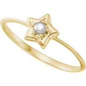 Karat Kids 14K Gold Freshwater Pearl Youth Star Ring, Size 3