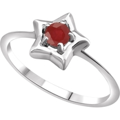 Karat Kids 14K Gold Imitation Ruby Youth Star Ring, Size 3