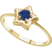 Karat Kids 14K Gold Imitation Sapphire Youth Star Ring, Size 3