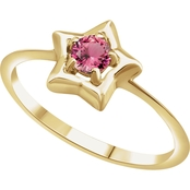 Karat Kids 14K Gold Imitation Pink Tourmaline Youth Star Ring, Size 3