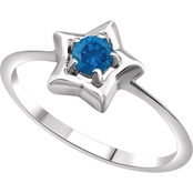 Karat Kids 14K Gold Imitation Blue Zircon Youth Star Ring, Size 3