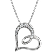 Sterling Silver Diamond Accent Heart Pendant 18 in. Necklace