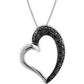 Sterling Silver Black Diamond Accent Heart Pendant 18 in. Necklace