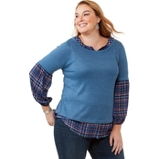 Status by Chenault Plus Size Knit Woven Twofer Top