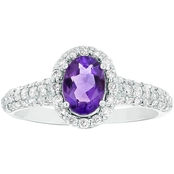 14K White Gold Diamond and 7x5mm Amethyst Ring