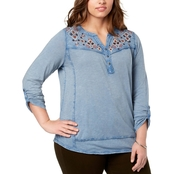Style & Co. Plus Size Embroidered Split Neck Top