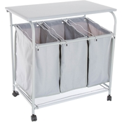 Lavish Home Rolling 3 Bin Laundry Sorter and Ironing Station
