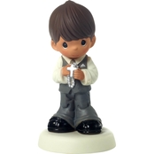 Precious Moments Brown Hair Boy Figurine