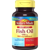 Nature Made Fish Oil Burp-Less 1200 mg Liquid Softgels 60 Ct.