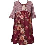 Bonnie Jean Little Girls Stripe Knit to Floral Dress