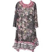 Bonnie Jean Little Girls Floral Fuzzy Knit Sharkbite Dress