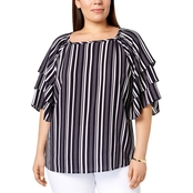Charter Club Plus Size Striped Tiered Sleeve Top