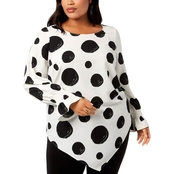 Alfani Plus Size Printed Pointed Hem Top