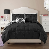 VCNY Chelsea 5 pc. Comforter Full Black