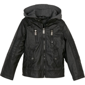Urban Republic Little Boys Faux Leather Quilted Shoulder Jacket