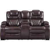 Ashley Warnerton Power Reclining Console Loveseat with Power Adjusting Headrest